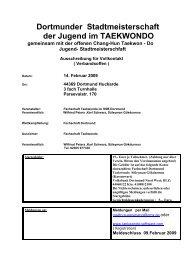 Dortmunder Stadtmeisterschaft der Jugend im TAEKWONDO