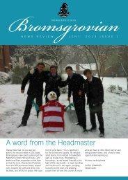 A word from the Headmaster - Bromsgrove School
