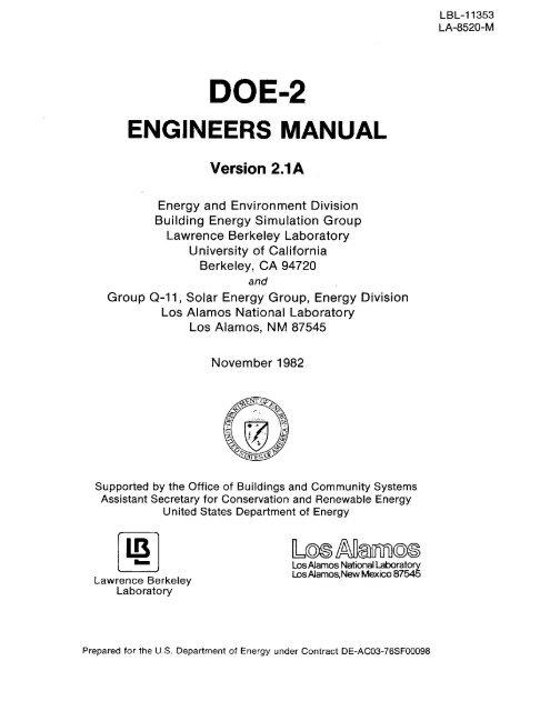 DOE-2 Engineers Manual Version 2 1A - DOE-2 com