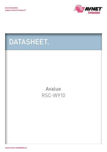 Avalue Datasheet RSC-W910 (197 kB) - Avnet Embedded