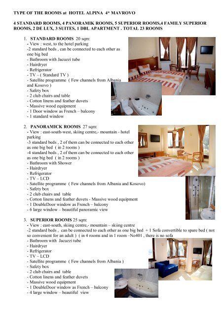 Hotel Room Types: TYPE OF THE ROOMS At HOTEL ALPINA 4* MAVROVO 4