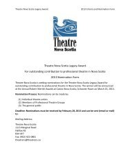 Theatre Nova Scotia Legacy Award - The Robert Merritt Awards