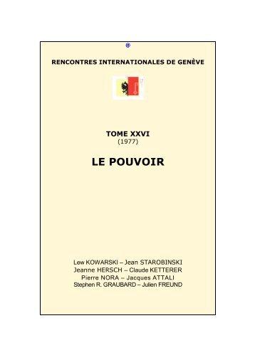 LE POUVOIR - Rencontres Internationales de Genève