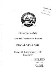 City of Springfield Annual Treasurer's Report FISCAL YEAR 2010 ...