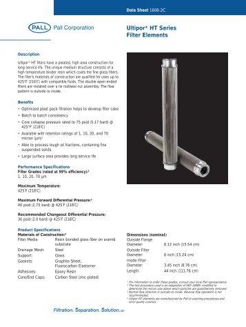 Data Sheet 1608-2C Ultipor® HT Series Filter - Pall Corporation