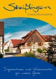 Das Unterkunftsverzeichnis 2013 zum Herunterladen - Steißlingen