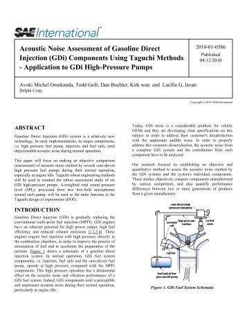 Acoustic Noise Assessment of Gasoline Direct Injection ... - Delphi