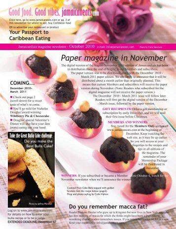 October - Jamaican Eats!