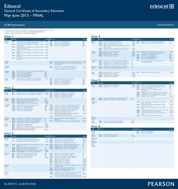 Edexcel GCSE June 2013 Exam Timetable