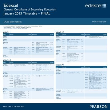 Edexcel GCSE Timetable January 2013 - Sussex Downs College