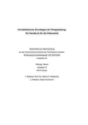 Formästhetische Grundlagen der Filmgestaltung. Ein Handbuch für ...