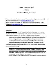 Cougar Investment Fund Fall 2012 Investment Meeting Guidelines