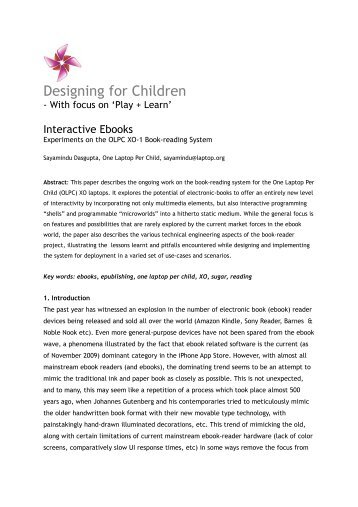 Interactive Ebooks: Experiments on the OLPC XO-1 Book-reading ...