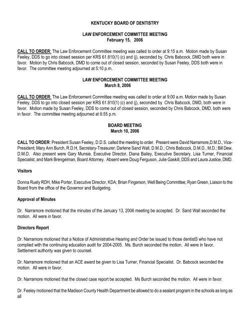 The Law Enforcement Committee Mee Kentucky Board Of Dentistry