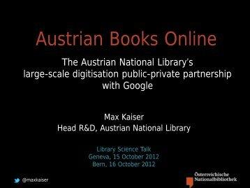 Austrian Books Online - CERN | Scientific Information Service