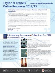 eBooks and Online Resources 2012/13 - Routledge