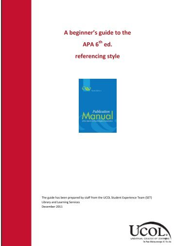 beginners guide to apa referencing 6th edition ucol library