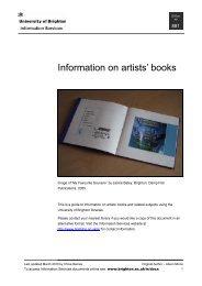 Information on artists' books - staffcentral - University of Brighton