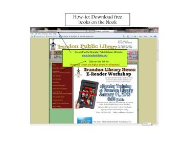 How-to: Download free books on the Nook - Brandon Public Library