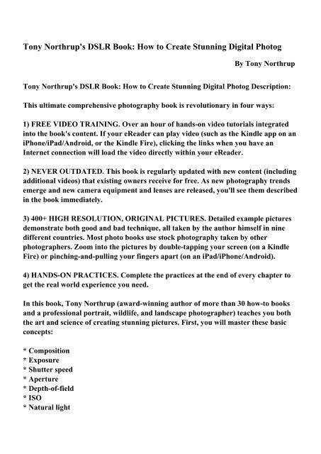 tony northrups dslr book how to create stunning digital photography english edition