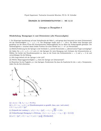 Lösungen zu Übungsblatt 4 Wiederholung: Bewegungen in zwei ...