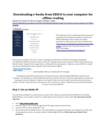 Downloading e-books from EBSCO to your computer for offline ...