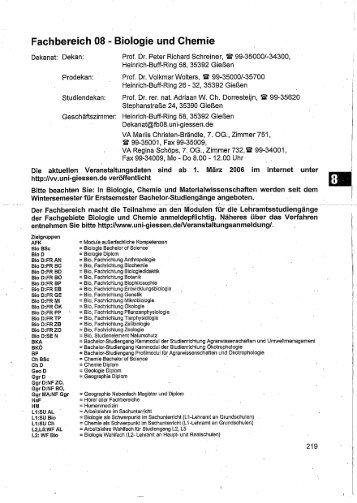 Fachbereich 08 - Biologie und Chemie - Zur Giessener ...