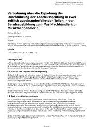 Verordnung über die Erprobung der Durchführung der ...