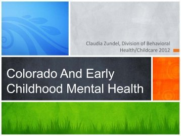 Colorado And Early Childhood Mental Health
