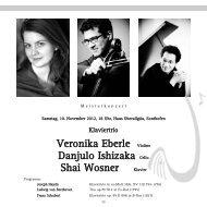 Veronika Eberle Violine Danjulo Ishizaka Cello Shai Wosner Klavier
