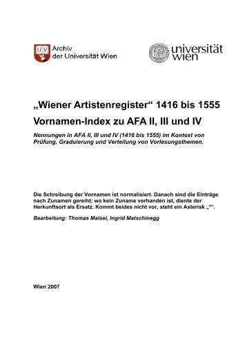 AFA Vornamenindex.pdf - Universität Wien