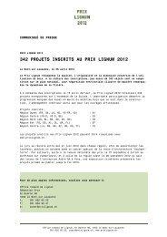342 PROJETS INSCRITS AU PRIX LIGNUM 2012