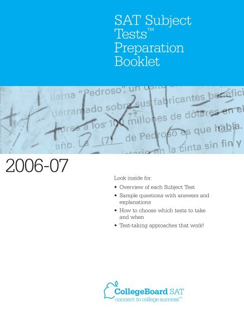 "Download SAT Subject Testsâ""¢ Preparation Booklet - College Board"