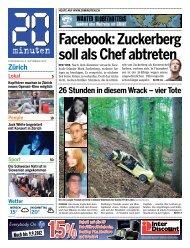 Zürich Facebook: Zuckerberg soll als Chef abtreten - 20 Minuten