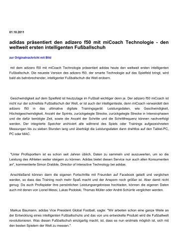 adidas präsentiert den adizero f50 mit miCoach Technologie
