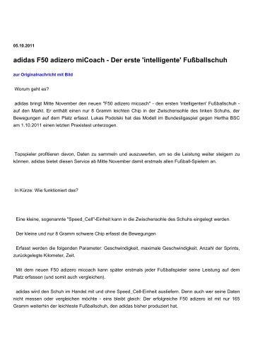 adidas F50 adizero miCoach - Der erste 'intelligente' Fußballschuh