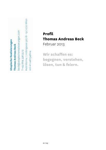 Profil Thomas Andreas Beck - Utopische Realisierungen
