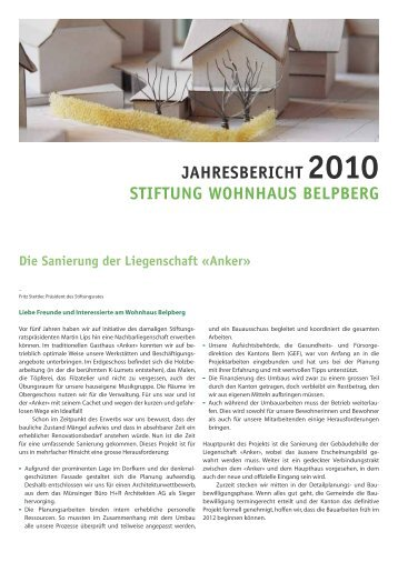 JAHRESBERICHT 2010 STIFTUNG WOHNHAUS BELPBERG