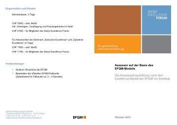 Organisation und Kosten - Swiss Excellence Forum