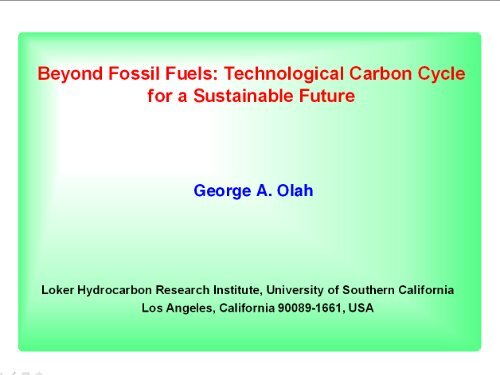 Beyond fossil fuels - Energy 2050