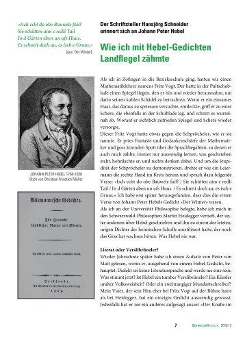 Wie ich mit Hebel-Gedichten Landflegel zähmte - SchweizerDeutsch
