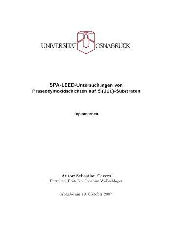SPA-LEED-Untersuchungen von Praseodymoxidschichten auf Si(111)