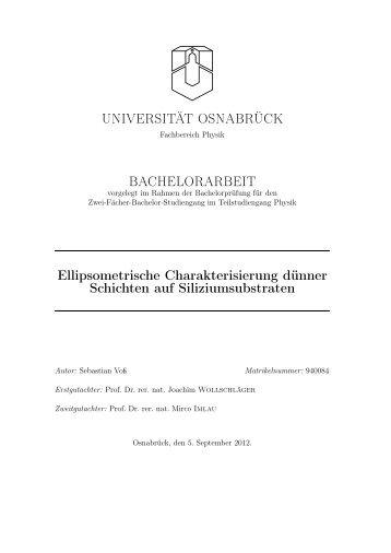Ellipsometrische Charakterisierung dünner Schichten auf ...
