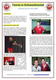 Info-Brief vom 12. Januar 2009 - Tennis in Schwentinental