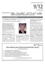 """""""Die Haftung des Zollverantwortlichen 2012!"""" - Kitzler Verlag"""