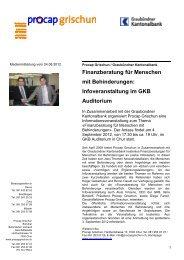 Finanzberatung für Menschen mit ... - Graubündner Kantonalbank