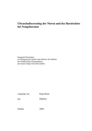 Ultraschallscreening der Nieren und des Harntraktes - Justus-Liebig ...