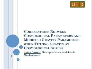 correlations between cosmological parameters and modified gravity ...
