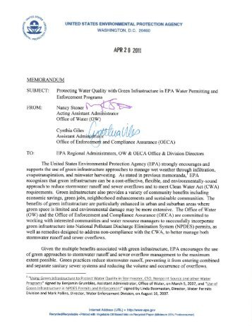 Memo from U.S. EPA, 4-20-11 - Project Groundwork