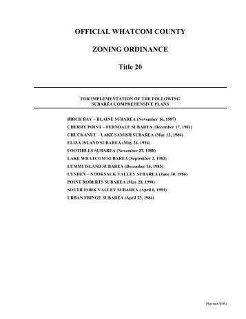 OFFICIAL WHATCOM COUNTY ZONING ORDINANCE Title 20